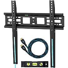 """'Cheetah Mounts APFMSB Flush 1""""de pared de pantalla plana TV Pantalla Plana Soporte para 20–Televisor de 55pulgadas de hasta VESA 420x 400y 115libras (kg 52); Un Twisted Veins 3m cable HDMI magnético nivel de burbuja de 3ejes y 6"""""""