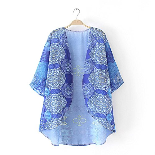 Sannysis Damen lösen Strickjacke Chiffon-Schal-Bluse Blau
