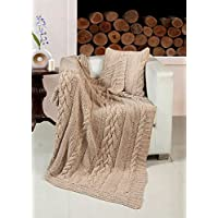 Lussuoso cotone lavorato a maglia, filo grosso, classica, 127 x 152 cm, copriletto Latte