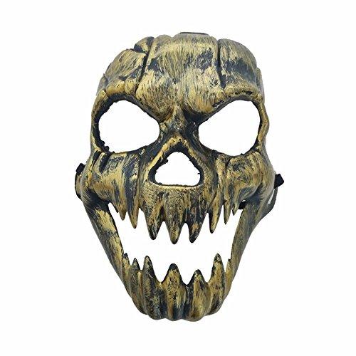 Masken Gesichtsmaske Gesichtsschutz Domino falsche Front Halloween Horror Gesicht verziehend Geistkopf Maske Antike Reißzähne Schädel Kopf Maske Rost Gold (Bemalen Gesicht Halloween-schädel Für)