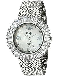Burgi Reloj Pulsera de nácar de diamantes y Baguette para mujer
