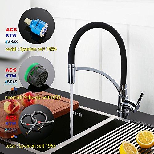 Homelody – Einhebel-Küchenarmatur mit flexibler Spiralfeder, Schwarz - 4