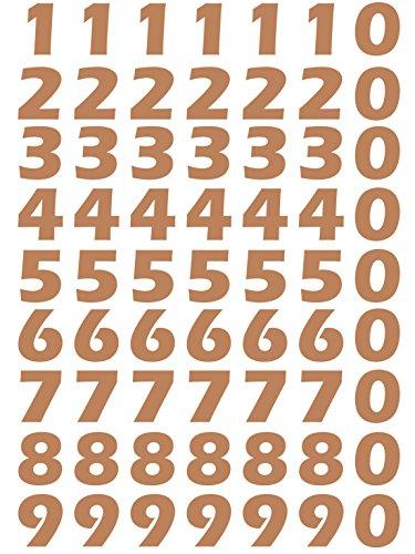 das-label Zahlen Design NO.2 (klein) | kupfer Vinyl matt | selbstklebende gestanzte Zahlen | zum Basteln Scrapbook | Sticker | Aufkleber | zum Beschriften