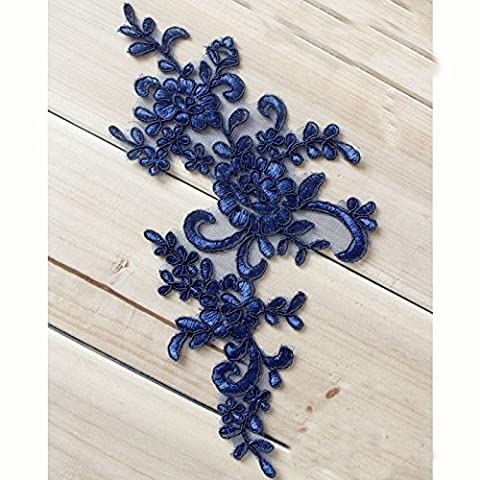 4.7X9.8 Navy Blue Retro Victorian Metallic Lace Flower Applique Lace Bridal Wedding Lace Trim on Organza Craft Sewing Supplies Lots of 2 Pairs by Beautiful By Design