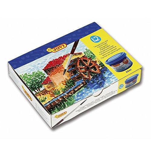 JOVI 152818 - Caja de 12 botes de tempera escolar de 35...