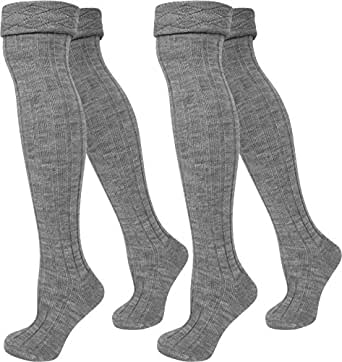 2 Paar Grob Strick Overknees für Teenager und Damen Super Weich und wärmend Farbe Grau Größe 35/38