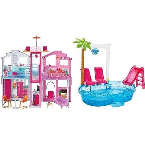 Pack Barbie - DLY32 - Maison de Luxe et BARBIE PISCINE GLAMOUR