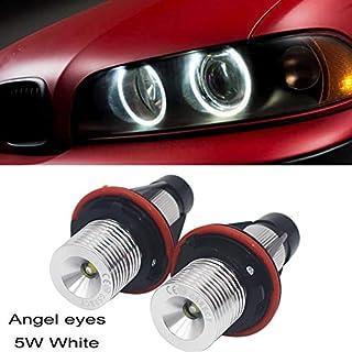 Ricoy 2x 5W For E39 E53 E60 E61 E64 E65 E66 E87 X3 X5 LED Angel Eye Halo Ring Marker Side Light White LED Bulb(Pack of 2)