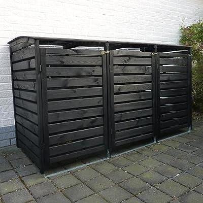 Mülltonnenbox VARIO III Müllbox Dreifachbox Kiefer massiv - Wahlweise in den Farben Anthrazit, Natur oder Honigbraun (Kiefer ANTHRAZIT) von PRIKKER-Holzmarkt auf Du und dein Garten