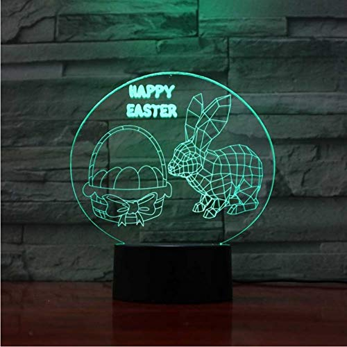 Schlafzimmer Dekor Baby Schlaf Beleuchtung Geschenke 3D Kaninchen Modellierung Led Nachtlicht 7 Farbwechsel Ostern Glückliche Atmosphäre Tischlampe (Glücklich Hase Ostern)