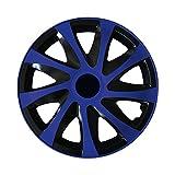 (Farbe & Größe wählbar) 13 Zoll Radkappen, Radzierblenden Draco Bicolor (Schwarz/Blau) passend für fast alle Fahrzeugtypen (universal)