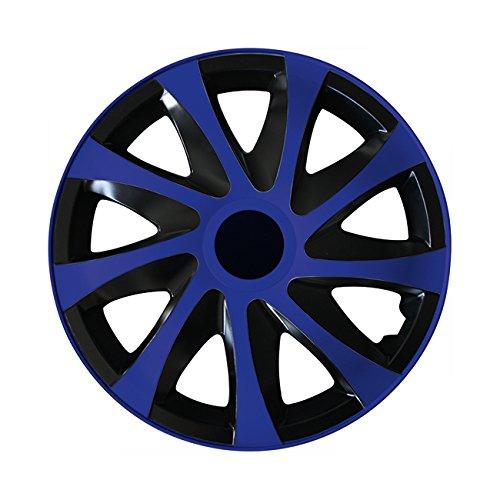 (Farbe & Größe wählbar) 16 Zoll Radkappen, Radzierblenden Draco Bicolor (Schwarz/Blau) passend für fast alle Fahrzeugtypen (universal) -