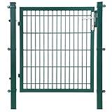 SONGMICS Gartentor aus verzinktem Stahl robust und langlebig mit Schloss und Schlüssel Tormaße: 106 x 150 cm Maschenmaße: 50 x 200 mm grün GGD250L