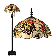 Gweat Tiffany de 16 pulgadas estilo pastoral romántica caliente Stained Glass Mariposas sobre flores Series Lámpara de pie