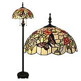 16-Inch Romantik Idylle Stil Blumen-Serie Buntglas Schmetterlinge Stehleuchte