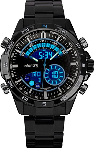 Infantry Herren Analog-Digital Armbanduhr Stoppuhr Outdoor Datum Tag Alarm Marine Blau Edelstahl Armband