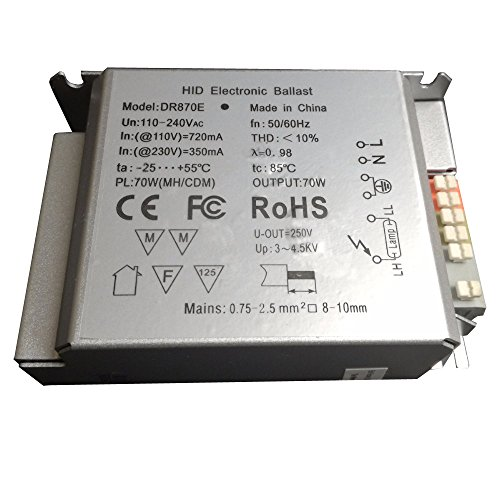 US/EU Standard Hocheffiziente Energiespar 70W breit Spannung 85–265V Elektronische Vorschaltgerät für G12, G8.5Master Colour, RX7s, TT Lampe, Stück 2, dr870e, CE, FCC, RoHS