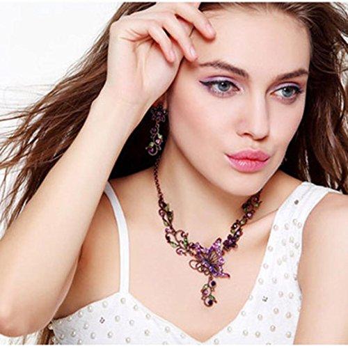 Sunnywill Damen Halskette Kette Choker Anhänger Vintage Schmetterling Halskette Anweisung Ohrringe Schmuck-Set - 3