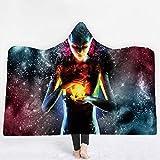 HAIT Kapuzendecke 3D Sternenlicht Mehrfarbig Digitaldruck Frau Erwachsene Kinder Farbige Plüsch Mit Kapuze Decke Strand Decke Mantel Schal Halloween, 150Cm*200Cm