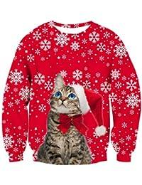 Rave on Friday Unisexo Navidad Sudaderas 3D Impresión Ugly Sweater Pulóver Hombre Tops Sweatshirt S-XXL