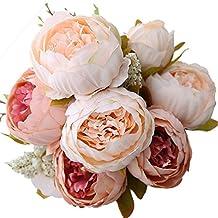 Turelifes Vintage ramo de flores de peonia rosa, artificiales, para boda decoración para el hogar