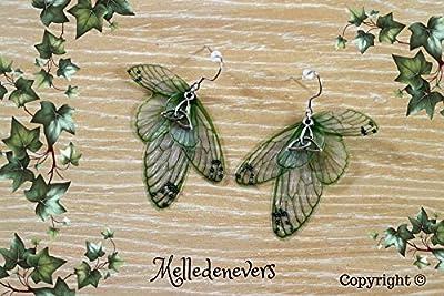 Melledenevers boucles d'oreilles ailes de libellule vert celtique
