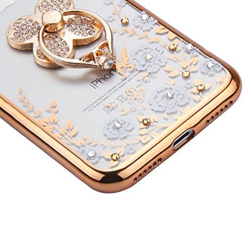 iPhone 7 Hülle,iPhone 7 Silikon Hülle Tasche Handyhülle,SainCat Flamingos Muster Ultra dünne Silikon Hülle Schutzhülle Durchsichtig Hadytasche Stoßfeste TPU Gel Case Bumper Weiche Crystal Kirstall Sil Gold Klee-Weiße Blume