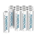 Pilas Recargables AAA 1000mAh POWEROWL Precarga Alta Capacidad 1.2V Ni-MH Recargable AAA Pilas Baja Autodescarga (12 Paquete, Recargable Aproximadamente 1200 Veces)