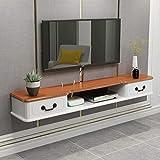 Wand-TV-Schrank Schlafzimmer Wohnzimmer Wandregal TV-Hintergrund Wanddekoration Regal TV-Ständer Multimedia-Speicher-Regal Display-Regal (Farbe : Brown, größe : 110cm)