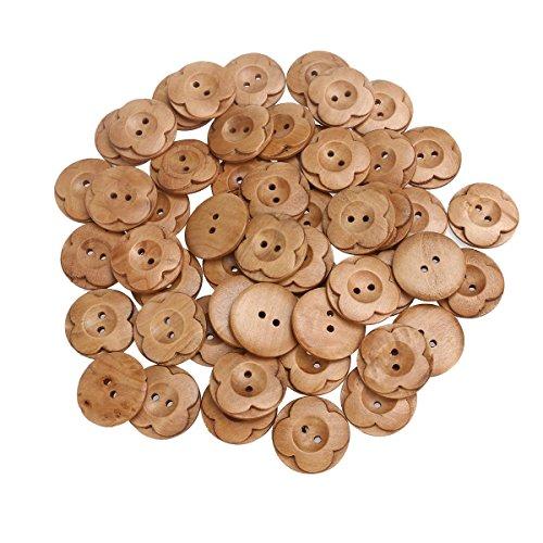 LEORX Botones de madera 50pcs 2 orificios flor en forma de madera coser botones para craftsknitting