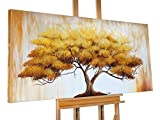 KunstLoft® Acryl Gemälde 'Lehre des Zen' 140x70cm | original handgemalte Leinwand Bilder XXL | Baum Leben Natur Gelb | Wandbild Acrylbild moderne Kunst einteilig mit Rahmen