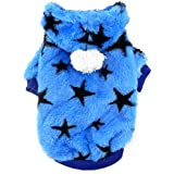 SMALLLEE_LUCKY_STORE Small Dog Hoodie Sweaters Winter Coat Jumper Star Print Puppy Cat Clothes Velvet Comfort Blue S