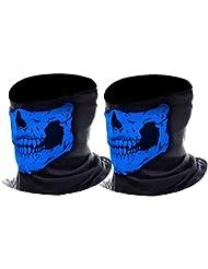 eBoot Máscara de Calavera Bufanda Multiuso de Motocicleta Sombreros de Balaclava Bragas de Cuello, 2 Piezas (Azul)
