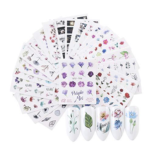 IWILCS 48 PCS Nagelsticker, 3D Nail Sticker Set, Nagel Aufkleber Abziehbild Art, Nail Art Nail Sticker Wasserzeichen Blumen DIY Nagelstudio