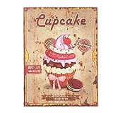 C&E Grosses Vintage Retro Dekoschild mit Spruch: Cupcake Bakery, Material Holz, Maße 30 x 40 cm, Creme Vintage mit Roter Schrift