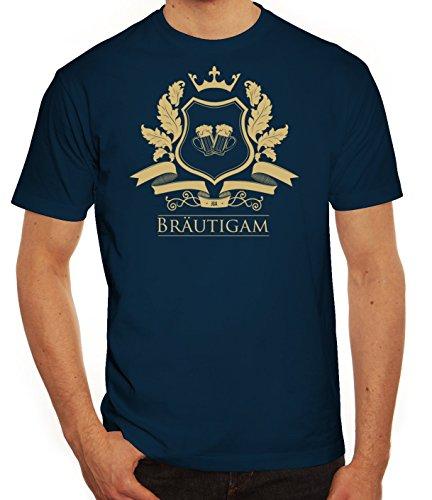 Junggesellenabschieds JGA Hochzeit Herren T-Shirt Wappen Bräutigam Dunkelblau