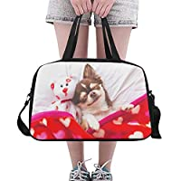 Plosds Cute Chihuahua Dog Animal Large Yoga Gym Totes Fitness Handbags Travel Duffel Bags Shoulder Strap Shoe Pouch For Exercise Sport Luggage For Girl Men Womens Outdoor