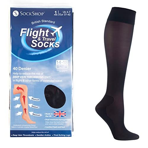 Unisex Black Flight & Travel Socks 4-7 uk