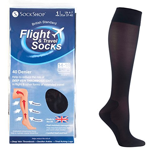 51TdOZyl6hL - Sock shop Unisex flight and travel socks, 80 denier, 4-7 uk, 37-40 eur (black)