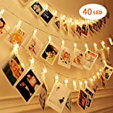 LED Photo Clip String Lights / 40 Photo Clips 5M(16.5 Feet) Battery Powered LED / String Lights for Hanging Picture, Notes, Paintings Card,Home Decoration,Wedding Party (Warm White)( 40 LED)
