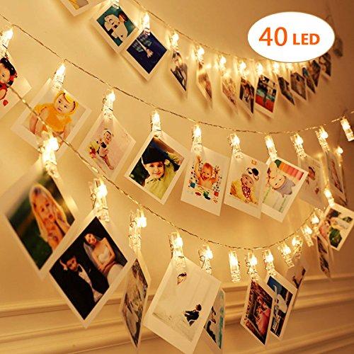Clip cadena de luces LED - 40 Fotoclips 5M Caliente las Cadenas Ligeras Blancas , Photo Clips Iluminación del LED ,Baterías ,Decoración Casera, Partido, Bodas