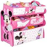 Disney - Organizador para juguetes de madera con cajones de tela, diseño de Minnie Mouse