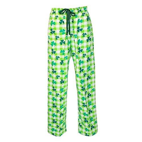 boxercraft Women's Shamrock Clover Print Flannel Pants, XL, Green