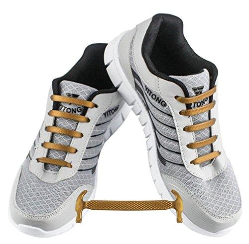 WELKOO® Cordones elásticos de silicona sin nudo impermeables para calzado de adulto -16 pza,Talla ADULTO oro