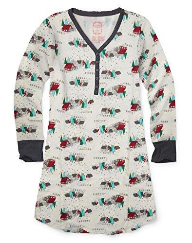 Hanes Damen Nachthemd Heathered Dark Gray w/Snow Village
