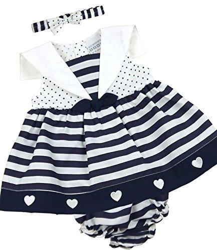 BabyPrem Bébé Robe Culotte Ensemble Filles Vêtements Rayures 9-12 Mois (74-80cm) Bleu Marine