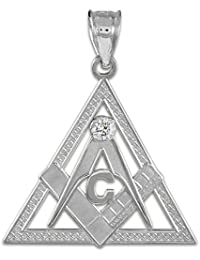 Little Treasures - Sterling Silver Freemason Triangle Masonic CZ Pendant Necklace (Come with an 18'' chain)