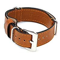 StrapsCo Tan Nato Zulu Military Style Leather Watch Band size 24mm
