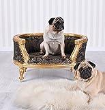 Barock-Hundebett-Gold-Schwarz-Hundesofa-Mops-Sofa-Hundekorb-Antik-Stil-Palazzo-Exklusiv