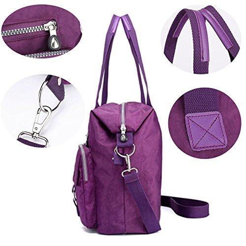 Yharadraf Umhängetasche Messenger,Wasserdichte Nylon Schulter Casual Handtasche Damen Geldbörse Umhängetasche Leichte Schultertasche für Frauen Lila